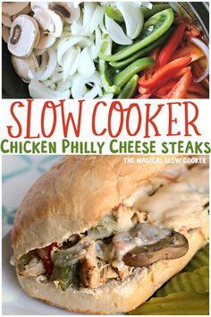 Slow Cooker Recipes, Crockpot Recipes, Chicken Recipes, Crockpot Dishes, Crock Pot Cooking, Cheesesteak Recipe, Chicken Philly Cheesesteak, Cheese Steaks, Steak Sandwich Recipes