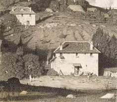 Lloyd Rees - House in the Valley (pen and ink) Landscape Art, Landscape Paintings, Landscapes, Black White Art, Australian Artists, Photos, Pictures, Habitats, Graphic Art