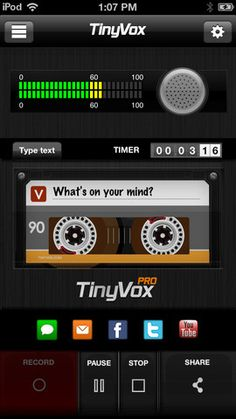 TinyVox Pro - This is a professional voice memo app for the iOS platform that sports a really slick, polished layout. It works wonderfully, has clear-cut crisp graphics, and offers an array of excellent social media sharing options that are really impressive and set it apart from the other recording apps in iTunes. The audio quality is great and the playback features rock. A definite huge upgrade from the generic iOS default recording app. Very cool and highly recommended!