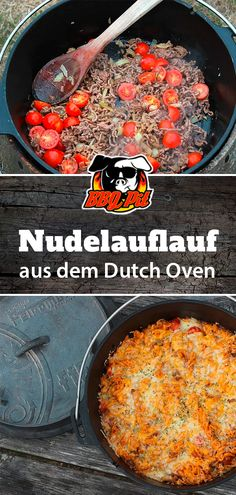 Nudelauflauf aus dem Dutch Oven Pasta casserole from the Dutch Oven is easy and quick to prepare and always tastes good! We show you in this recipe how to make a delicious pasta casserole with minced meat and cheese baked in a fire pot. Slow Cooker Meat Recipes, Crockpot Recipes, Crockpot Meat, Slow Cooking, Pasta Recipes, Dinner Recipes, Recipe Pasta, Dutch Oven Recipes, Pasta Casserole