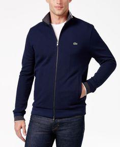 Lacoste Men's Contrast-Trim Zip-Front Sweatshirt