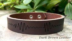 Men's Personalized Soundwave Bracelet, Heart Beat Bracelet, Custom Engraved Leather Bracelet, Genuine Leather Cuff, Christmas Gift for Him