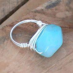 Pale Aqua Blue Amazonite Stone Ring wrapped in Non-Tarnishing Silver