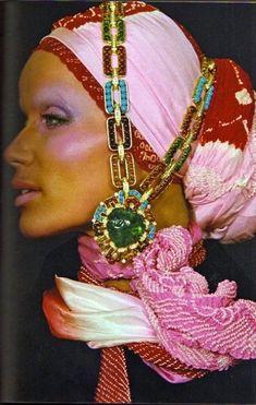 6f2726d3a614f Veruschka in an exotic silk headdress embodied the era s free spirit