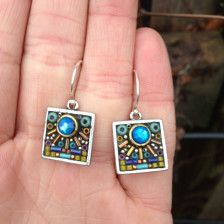 1/2 x 1/2 inch These one of a kind earrings were created using a mosaic process. Both vintage and contemporary beads and stones were used on these earrings. The metal base for the mosaic work is silver plated pewter made in the USA.