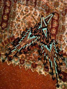 Geometric - Turquoise Bronze and Black Bugle Beaded - Cheyenne - Brick Stitch - Native American Earrings. $42.00, via Etsy.