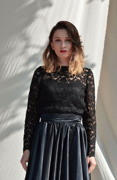 Lace top, Black lace top, Long sleeve top, Crop top Wedding lace top Plus size top