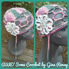 CROCHET 1 HAT DAILY! Day 295 AWE!Some Crochet by Gina Renay Mesh hat with crochet flower, lace & shell  #beach #spring #summer #natural #cool #hat #shell #crochet #lace