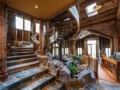 Stairs -- good feel and proportion   House of the Moment: A River Runs Through It | Mountain Living