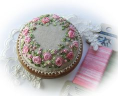 silk ribbon embroidered pin cushion