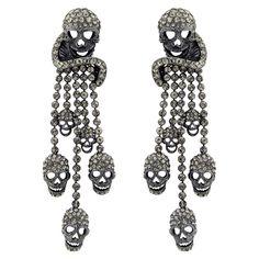 Crystal Skull Swirl and Tassel Drop Earrings - Butler & Wilson