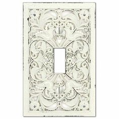 Wall Plate Light Switch Plate & Outlet Cover Distressed Arabesque White metal- $4-5 for single and double toggles