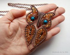 Copper Owl Necklace with Czech Crystals and Chrysocolla
