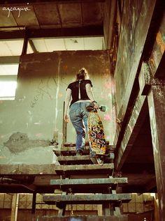 Adventure. Retro fashion. Girl. Longboard. Priceless.