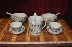 12 Piece Set Asian Porcelain Famille Rose w/ Butterfly Flower Blossom