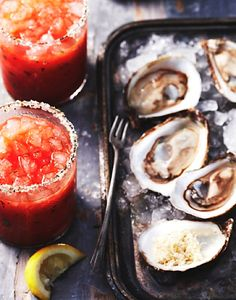 Oysters and Tomato juice