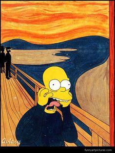 Arts entertainment, Edvard Munch The Simpsons Scream , Edvard Munch The Simpsons Scream Sampsons Cartoon Fine art artwork classic Fineart masterpiece famous work of art well-known masterwork famed work of genius legendary Funny humorous hilarious amusing comical Joke stuff junk very best top comic witty.