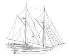 Ship Blueprint Nautical Technical Drawing of Sailing