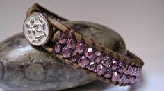 Leather Wrap Bracelet Beaded Purple Luster by CristinaDavisJewelry, $20.00