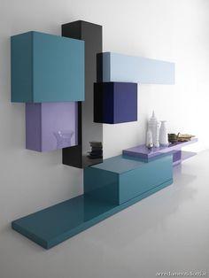 Tetris soggiorno moderno big Vivid Bookshelf Collection Displaying an… Tv Furniture, Furniture Design, Tv Wall Design, House Design, Muebles Rack Tv, Living Room Tv, Cabinet Design, Wall Shelves, Bookshelves