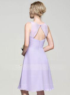 A-Line/Princess V-neck Knee-Length Ruffle Zipper Up Regular Straps Sleeveless No Lilac Spring Summer Fall General Plus Chiffon Bridesmaid Dress