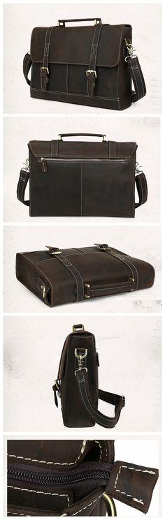 Business Men's Handmade Leather Briefcase Messenger bag 14 Inch Laptop Crossobdy Shoulder Bag