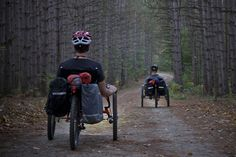 TerraTrike recumbent trikes enjoying a ride on a 2 track in the woods. Adventure cycling is the new rage!  TerraTrikes are the most comfortable ride in the world!