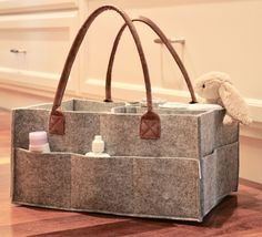 SODIAL Baby Diaper Caddy Organizer Portable Storage Basket Essential Bag for Nursery Changing Table and Car Good for Storing Diapers Bottles Baby Wipes Babys Toys Gray Leather Handle
