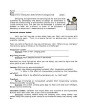 Introduction to Scientific Investigation Worksheet
