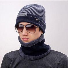 Men Winter Pocket Beanie Hat Muffler Scarf Set Thick Velvet Snow Wool 2  Pieces  mensfashion 15961526059f