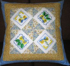 Aljay Mini Set 7 Pansy Squares with Cushion Cover - Aljay Designs   OregonPatchWorks
