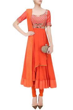 Orange beads and coin work kalidaar anarkali set available only at Pernia's Pop Up Shop.