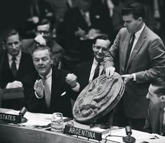 """Henry Cabot Lodge Jr. presenting """"The Thing"""" to the Security Council at the United Nations. 26 May 1960. [1987x1723]"""