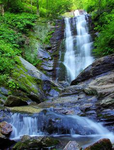 Tom's Creek Falls, 80 foot waterfall in Pisgah National Forest near Asheville
