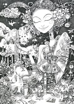 Nice doodle by otto björnik ink gallery, whimsical art, pencil art, doodle art Art And Illustration, Ink Gallery, Graffiti Doodles, Cool Doodles, Mother Art, Ink Pen Drawings, Whimsical Art, Colouring Pages, Doodle Art