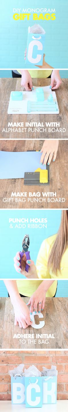 These adorable monogram gift bags are perfect for treating your bridesmaids! The We R Memory Keepers Alphabet Punch Board & Gift Bag Punch Board make them quick & easy.