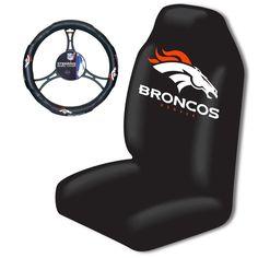 Denver Broncos NFL Car Seat Cover and Steering Wheel Cover Set