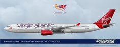 "Virgin Atlantic ""Golden Girl"" Airbus A330-343X G-VGBR Artwork Airliners Illustrated® by Nick Knapp©."