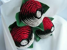 Poke Ball duct tape flowers