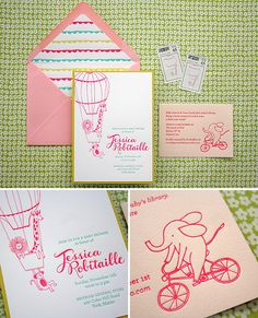 bright, playful baby shower invites