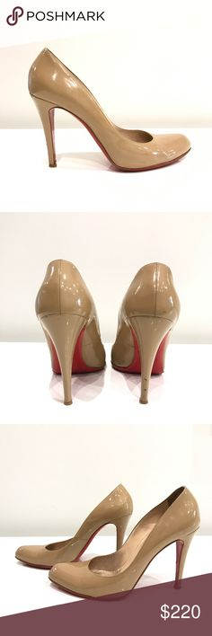 """Christian Louboutin Decolette Pumps Nude patent leather Christian Louboutin Decolette Pumps   Delectable leather complements the sleek curves of a classic almond-toe pump in a versatile hue. Christian Louboutin's iconic red sole flashes with each step to provide self-assured glamour that speaks volumes without saying a word. 3 3/4"""" (95mm). These shoes have been previously loved! So please review all photos before making your purchase.  Fire will happily supply more photos upon your request…"""