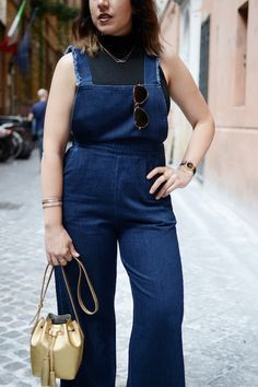 Italy travel outfit Zara denim culotte overalls Vancouver blogger Dune London gold gladiator sandals