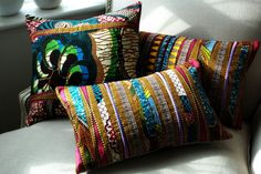Nomad Trio  Set of three Patchwork Pillow covers  by SISTERBATIK