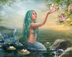 Mermaid With Green Hair Digital Art