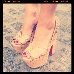 WANT.  Christian Louboutin cork platforms.