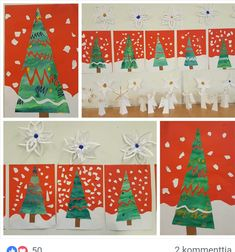 Christmas Art Projects, Christmas Crafts, Christmas Ornaments, Kindergarten Art Lessons, Crafts For Kids, Arts And Crafts, Winter Art, Art Plastique, Xmas Tree