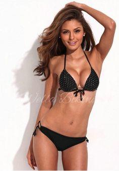 Sparkling & Shining–Eye-Catching Flash Drill Design Black Halter Bikini Set - LovelyAttire.com