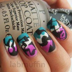 Graffiti matte nail art design (teal, white, purple and black) Dream Nails, Love Nails, Fun Nails, Pretty Nails, Matte Nail Art, French Acrylic Nails, Nail Polish Designs, Cool Nail Designs, Fabulous Nails