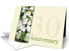 30th Wedding Anniversary White mixed bouquet card
