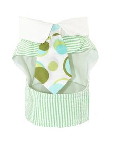 Green and white seersucker dog jacket is really one of our fabulous dog vest harnesses with a white collar and green print tie. A great summer look.